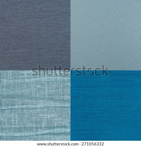Set of blue fabric samples, texture background.