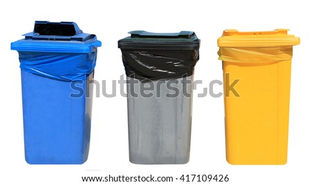 Set of blue, gray and yellow recycling bins on a white background. - stock photo