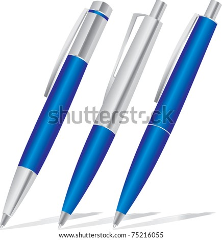 set of blue pens - stock photo