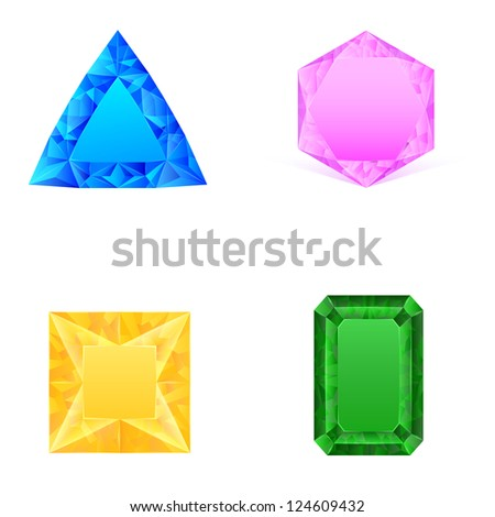 set of blue pink yellow green jewels - stock photo