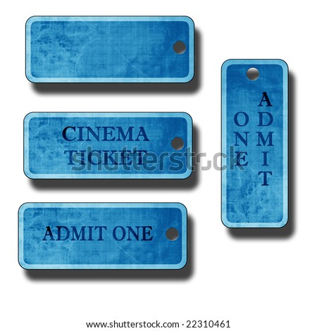 set of blue tags on a white background - stock photo