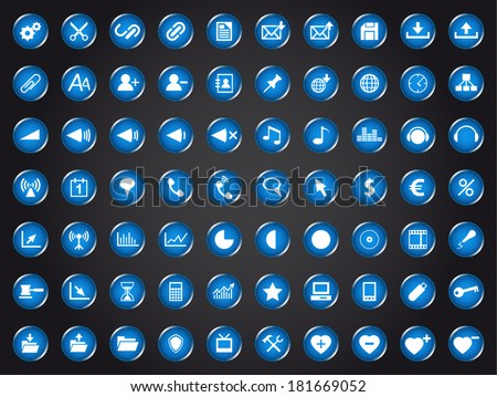 Set of blue universal web icons isolated on white background (Vector version is also available in my portfolio, ID 123730168) - stock photo