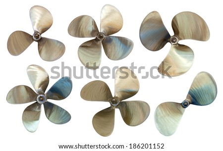 Set of boat propellers. Isolated over white background - stock photo