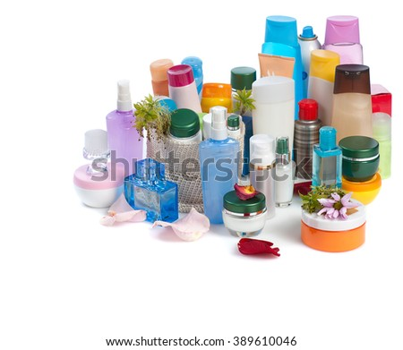 set of  body cosmetics with flower on white background - stock photo