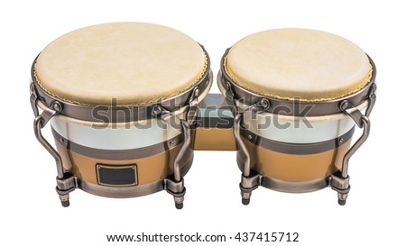 Set of Bongo Drums Isolated on a White Background. Latin percussion. - stock photo