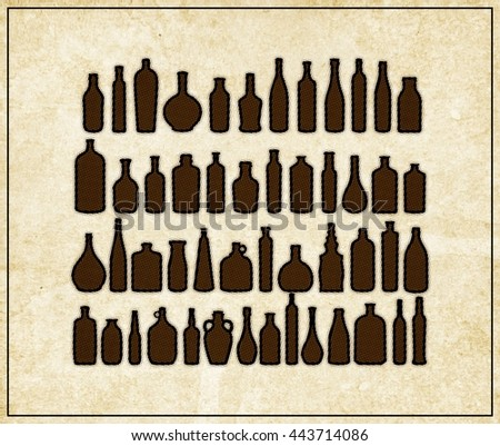 Set of bottles  - halftone  vintage   poster