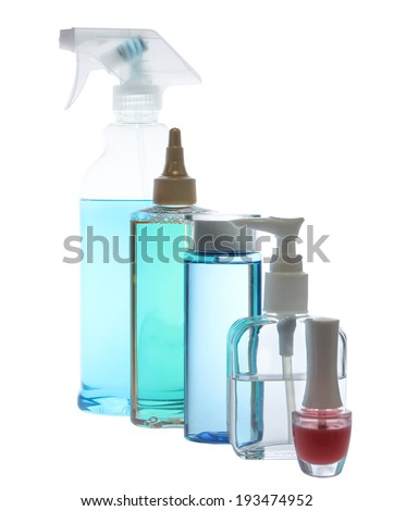 Set of  bottles of body care and beauty products - stock photo