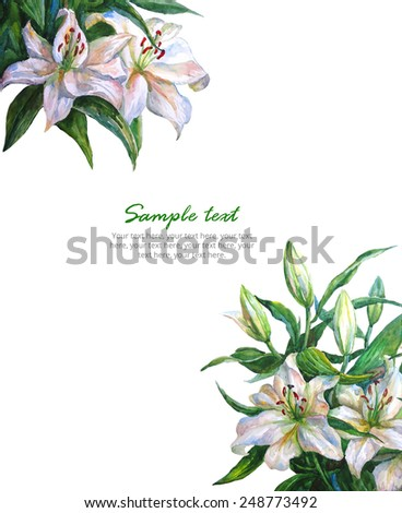 Set of bouquet of white lilies. Card background. Watercolor illustration isolated on white.