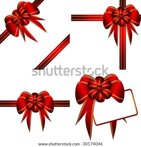 Set of bows with ribbons