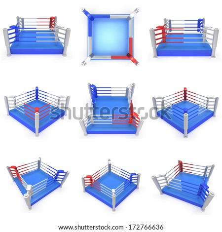 Set of boxing ring. High resolution 3d render. Sport, competition, match, arena concept. - stock photo