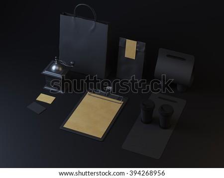 Set of branding elements for restaurant on dark paper background - stock photo
