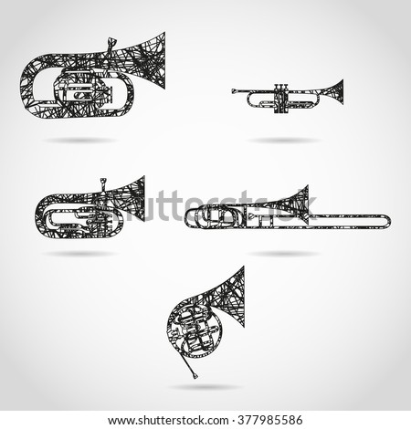 set of brass instruments for orchestra. painted design - stock photo