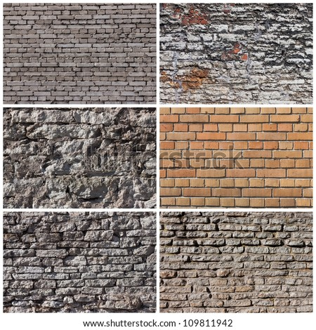 Set of brick and rock wall banners backgrounds - stock photo