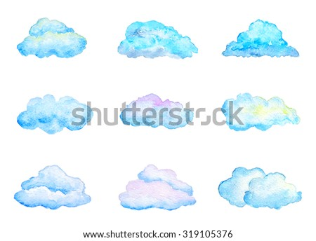 Set of Bright Blue Watercolor Clouds, Isolated on White, Hand Drawn and Painted - stock photo