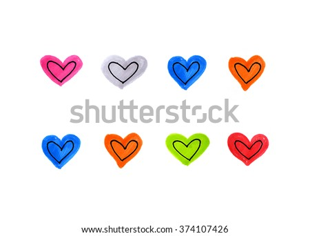 Set of bright color hearts on white background