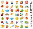 Set of 42 bright colorful pictures for children. Possible use - cabins in kindergarten. - stock vector