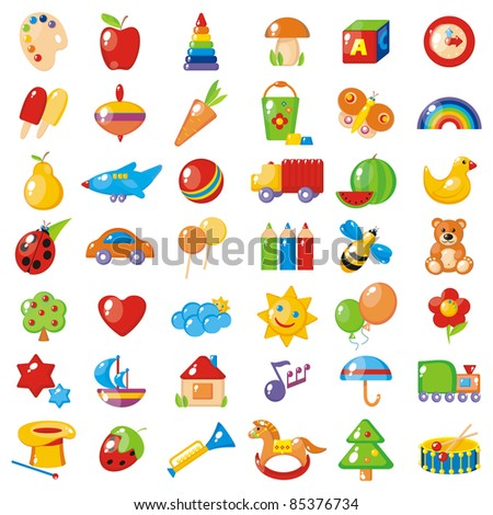Set of 42 bright colorful pictures for children. Possible use - cabins in kindergarten. - stock photo