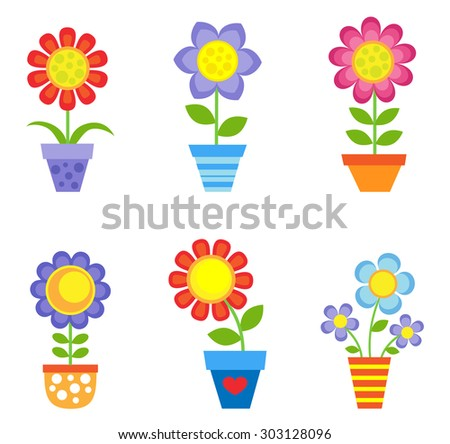 Set of bright flowers in pots. Raster version - stock photo