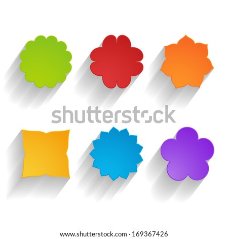 set of bright paper flowers - stock photo