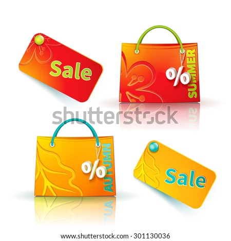 Set of bright red and orange shopping bags with advertising seasonal summer and autumn sellout and fob as a sign of percent and sale label - stock photo