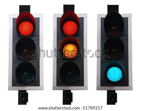 set of british traffic lights isolated on white background - stock photo