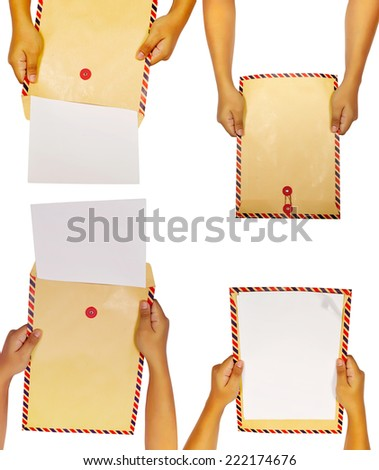 Set of brown envelope with human hand isolated over white background - stock photo