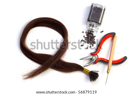 Set of brown hair extension tools - stock photo