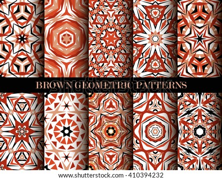 Set of brown kaleidoscope seamless patterns. Decorative mandala ornaments. Geometric design elements. Vintage wallpaper, fabric, furniture, paper print. Abstract vector flower and star. Elegant style - stock photo