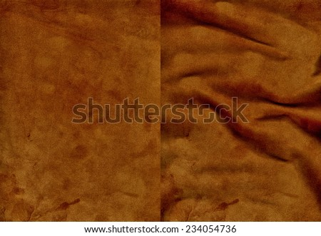 Set of brown velvet leather textures for background - stock photo