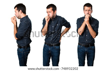 Set of Brunette man coughing a lot