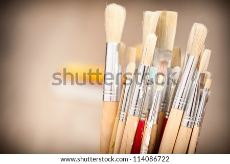Set of brushes for oil painting - stock photo