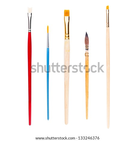 Set of brushes for painting, isolated on white - stock photo