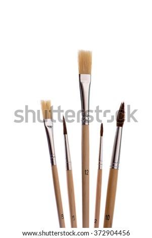 Set of brushes  isolated on white background - stock photo