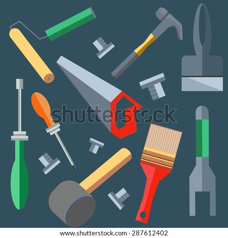Set of building materials to work on a construction site. Saw, hammer, brush, spatula. Logo design elements. Tools into a flat style on gray background.  illustration - stock photo