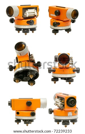 set of building theodolites isolated on a white background