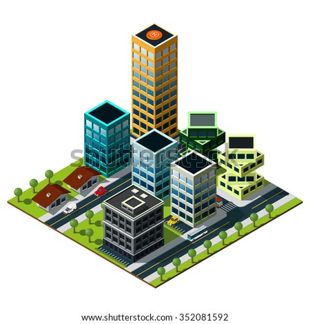 Set of buildings in downtown. Isometric city map.