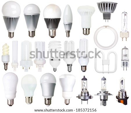 set of bulbs isolated on white background incandescent, compact fluorescent, halogen, LED light - stock photo