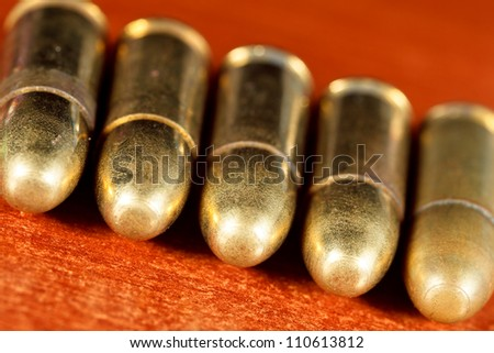 Set of bullets of hand gun - stock photo