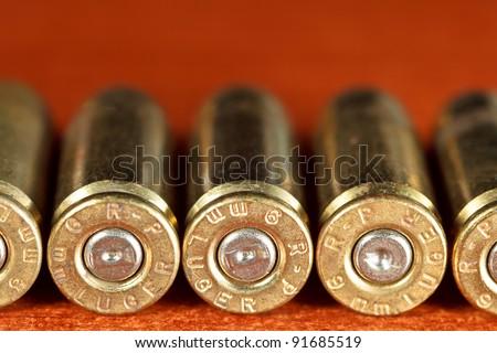 Set of bullets of hand gun - stock photo