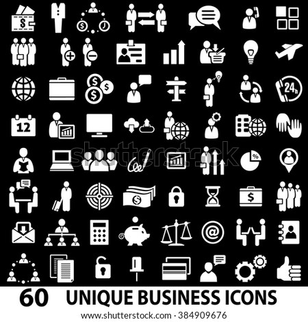 Set of 60 business icons. White and black. Business icons set. Business icons illustration. Business icons set jpeg