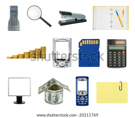 Set of business objects isolated white background - stock photo