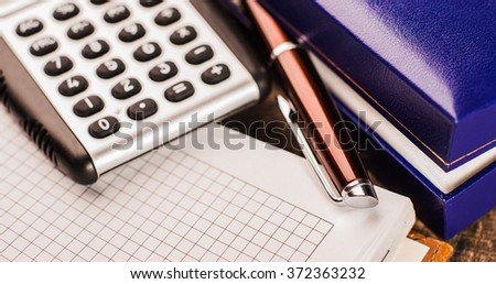Set of business, pen, calculator, notepad, office supplies