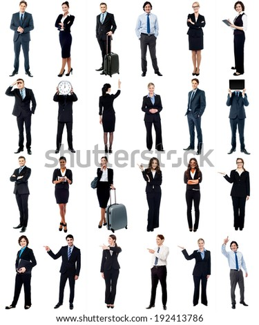 Set of business people, full length portraits.