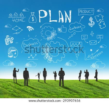 Set of business people silhouettes standing in different postures on nature background with signs and symbols