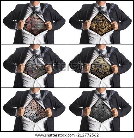 Set of businessman acting like a super hero and tearing his shirt off with copy space, With machinery metal gears idea concept, isolated on white background - stock photo