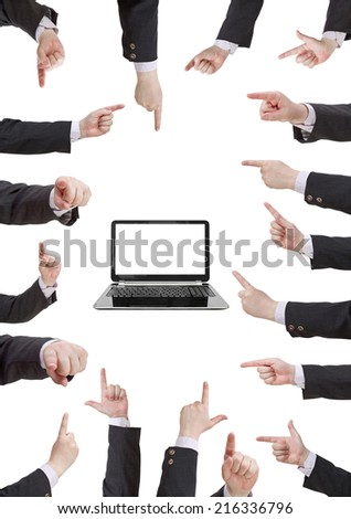 set of businessman hand gesture with forefinger isolated on white background - stock photo