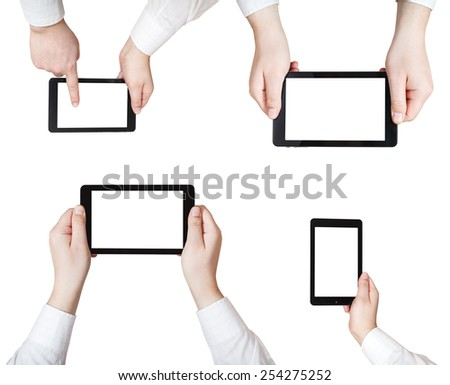 set of businessman hands with tablet pc isolated on white background - stock photo