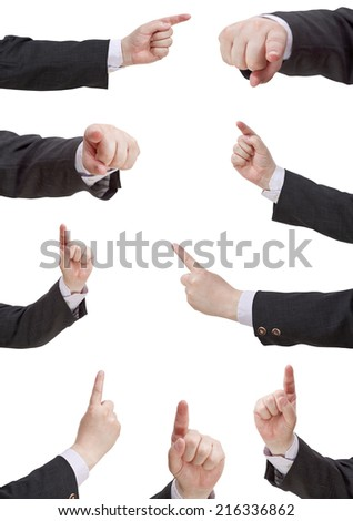set of businessman pressing forefinger - hand gesture isolated on white background - stock photo