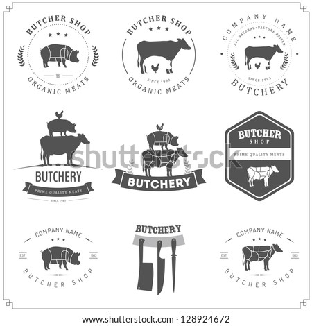 Set of butcher shop labels and design elements - stock photo
