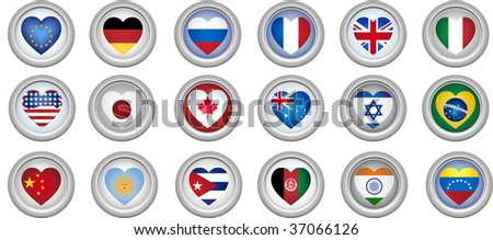 Set of 18 buttons of several countries heart shaped flags - stock photo